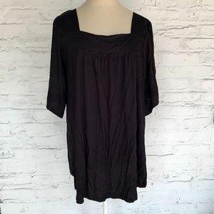 Lane Bryant blouse square neck black half sleeve